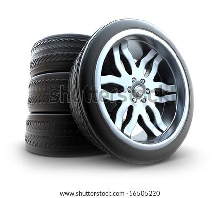 New Wheels Set isolated on white - stock photo