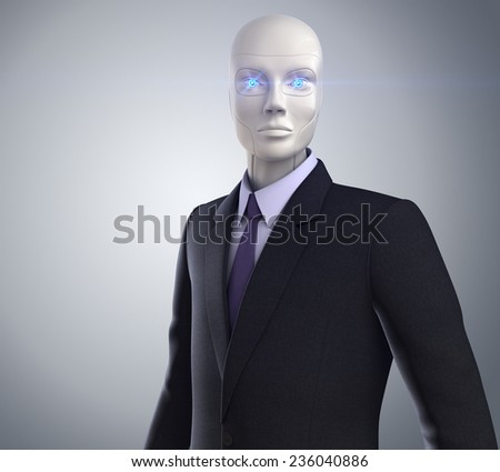 New White Collar Worker. Robot dressed in a business suit - stock photo