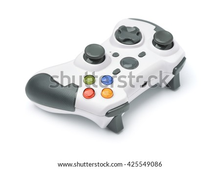 New wireless gamepad isolated on white - stock photo