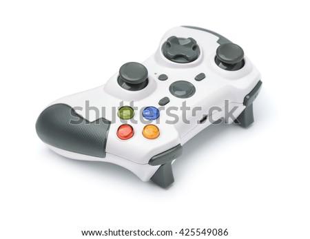 New wireless gamepad isolated on white - stock photo