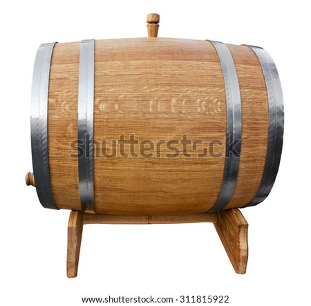 New wooden barrel isolated on white. Clipping path included. - stock photo