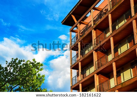 New wooden building for apartments in Italy - stock photo