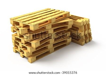 New wooden pallets isolated on white - stock photo