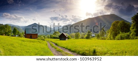 New wooden tourist house in the mountains - stock photo