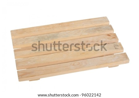 New wooden warehouse pallet shot over white background - stock photo