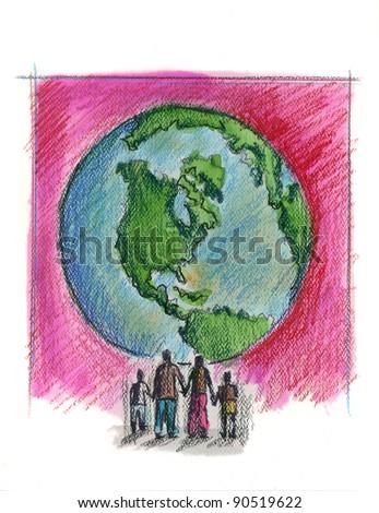 New World Family - stock photo