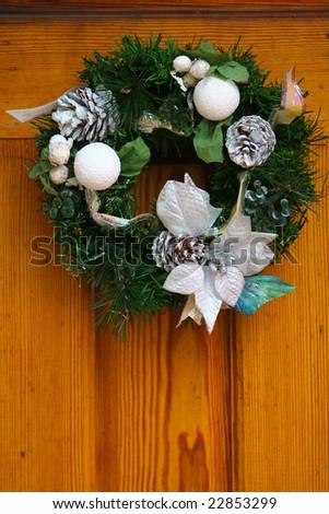 New wreath on the door - stock photo
