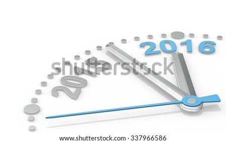 New Year. Abstract clock of metal showing count down from 2015 to 2016. Blue second Hand.