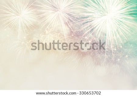 New Year, Abstract holiday background with fireworks and stars, copy space. - stock photo