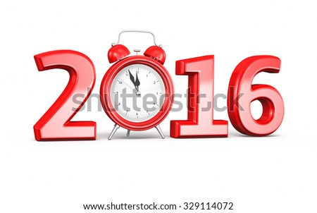 New Year 2016 and Alarm clock (isolated on white and clipping path) - stock photo