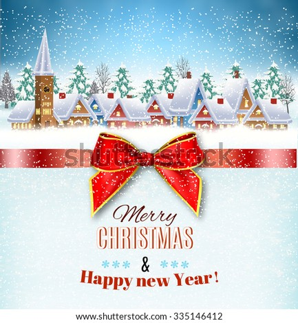 New year and Christmas winter village landscape background and a red gift ribbon. illustration. concept for greeting or postal card Raster version.  - stock photo