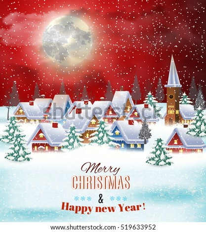 New year and Christmas winter village night landscape background. illustration. concept for greeting or postal card Raster version