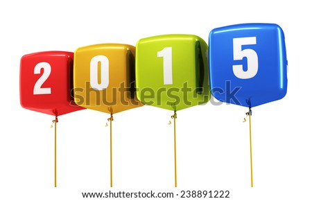 New Year 2015 and colorful cube balloons render (isolated on white and clipping path) - stock photo