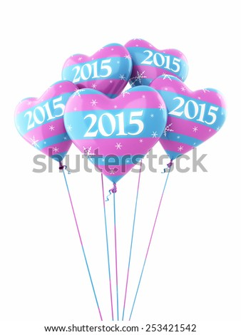 New Year 2015 and colorful heart balloons render (isolated on white and clipping path) - stock photo