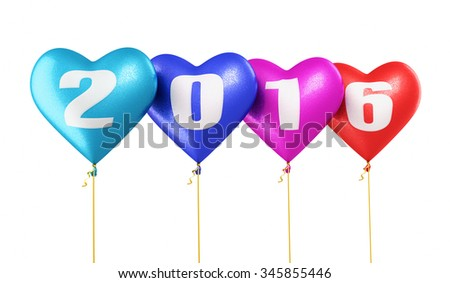 New Year 2016 and colorful heart balloons render (isolated on white and clipping path)
