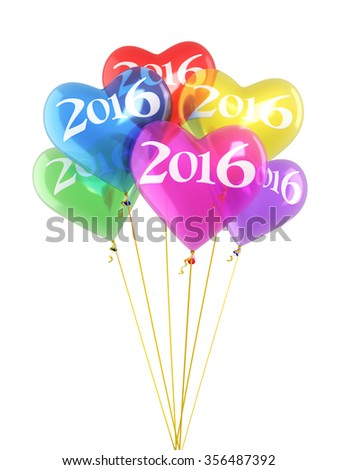 New year 2016 and Colorful heart balloons render (isolated on white and clipping path) - stock photo