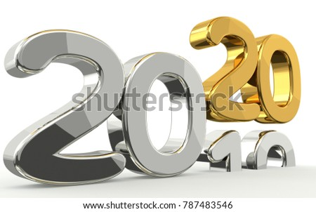 new year 2020 and 2019 golden 3d render