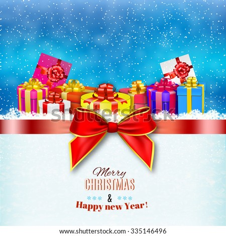 New year and Merry Christmas card with a ribbon and gift boxes and bow. illustration. concept for greeting or postal card Raster version.  - stock photo