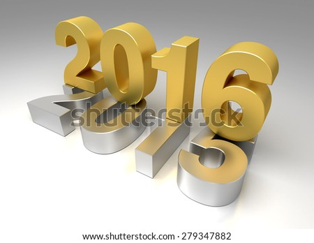 New Year 2016 and old 2015 - stock photo