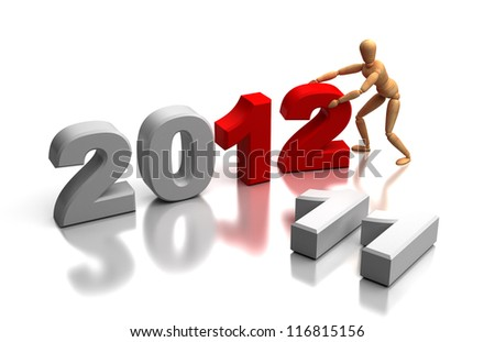 New Year 2012 and old 2011 (computer generated image)