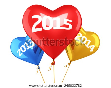 New year 2015 and old years balloon concept (isolated on white and clipping path)