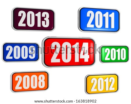 new year 2014 and previous years in 3d colored banners with figures, business concept - stock photo