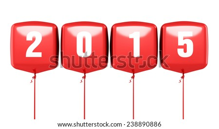 New Year 2015 and red cube balloons render (isolated on white and clipping path) - stock photo