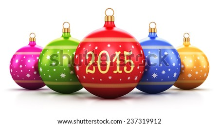 New Year 2015 and Xmas celebration concept: group of color shiny metallic glass Christmas balls with colorful star decoration ornament design isolated on white background with reflection effect - stock photo