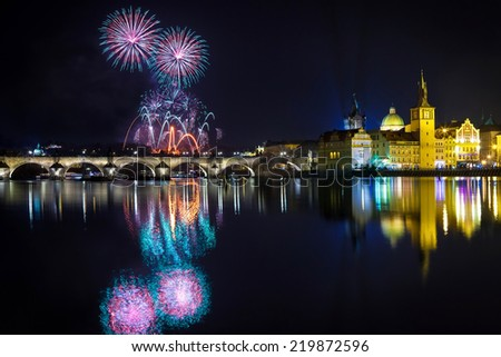 New year atmosphere in Prague, Czech Republick - stock photo