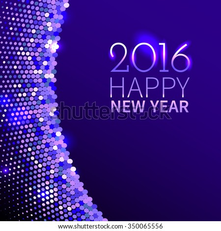 New Year 2016 background. Purple shining border with sparkling sequins in the disco style - stock photo