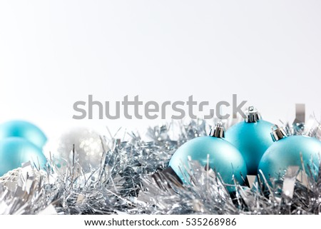 New Year background with blue Christmas balls.