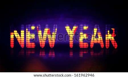 New Year background with music equalizer  - stock photo