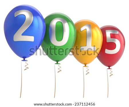 New Year 2015 balloons party holiday decoration red green blue yellow. Winter celebration helium balloon. Future beginning calendar date greeting card banner. 3d render isolated on white background