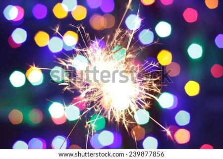 New year 2015 Bengal lights in the form of stars on the shine background - stock photo