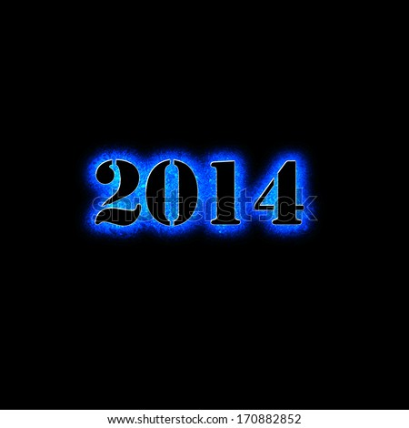 New Year 2014 blue colorful background