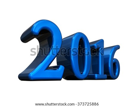 New Year Blue 2016 3d Text Isolated on white - stock photo