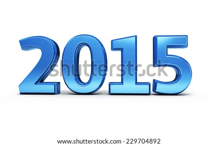 New Year 2015 Blue render (isolated on white and clipping path) - stock photo