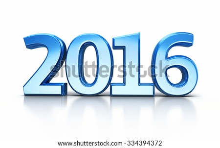 New Year 2016 Blue render (isolated on white and clipping path)