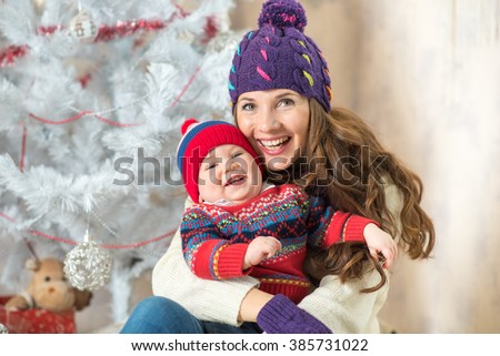 New Year Boy and mom - stock photo