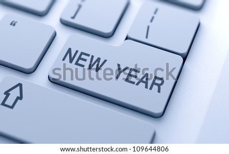 New Year button on keyboard with soft focus