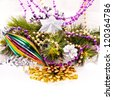 New year card with beautiful color decorations, furtree and place for text - stock photo