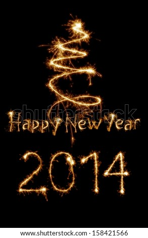 New year 2014 card written with sparkles - stock photo