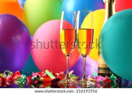 New Year celebration,Champagne and balloons. - stock photo