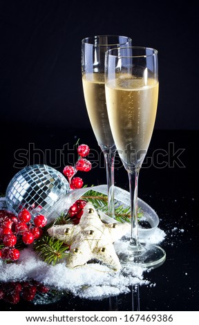 New Year Celebration.Champagne flutes.Isolated on black - stock photo