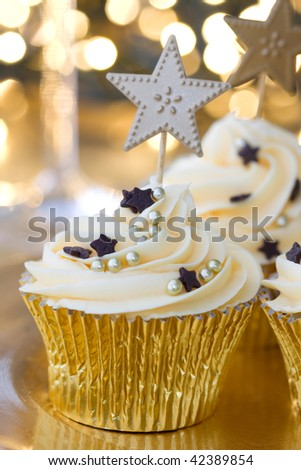 New Year celebration cupcakes - stock photo