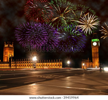 New Year celebrations in London. Fireworks above Big Ben and Houses of Parliament - stock photo