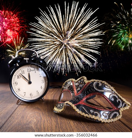 New year celebrations with fireworks - stock photo