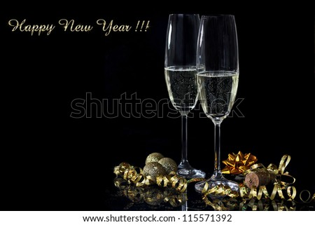New Year champagne - stock photo
