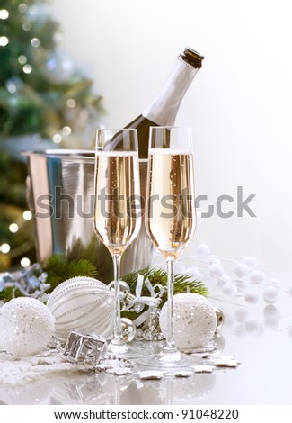 New Year. Champagne - stock photo