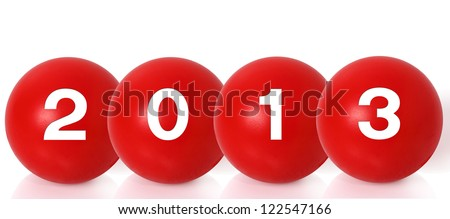 New Year 2013 Christmas balls on white background - stock photo